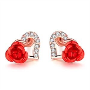 Gold-Tone Diamond Accents Heart-Cut Stud Earrings